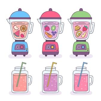 Ilustração de smoothies desenhados à mão em copo de liquidificador