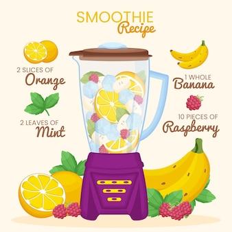 Ilustração de smoothies orgânicos em copo de liquidificador