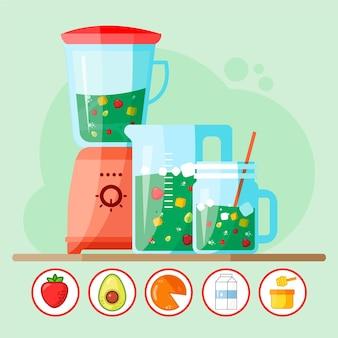 Ilustração de smoothies planos em copo de liquidificador