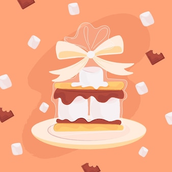 Ilustração de sobremesa deliciosa de s'mores
