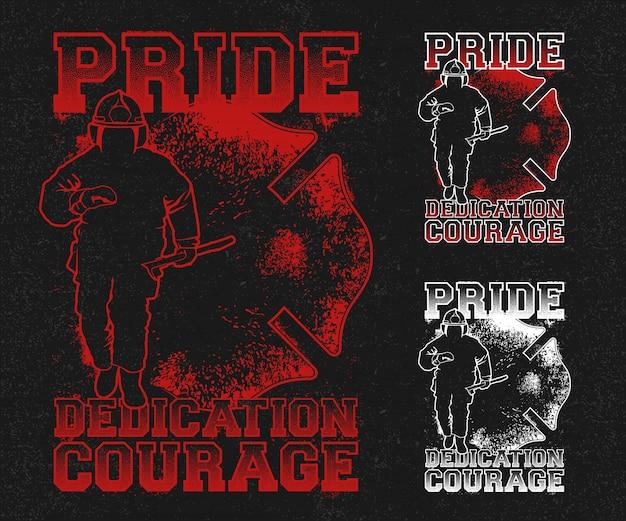 Ilustração de socorro bombeiro de orgulho