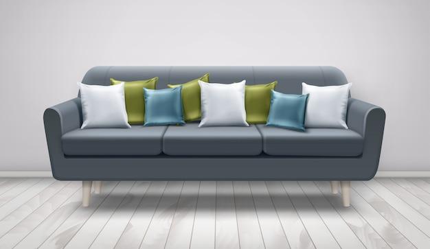 Ilustração de sofá cinza com almofadas decorativas para lounge em piso de madeira