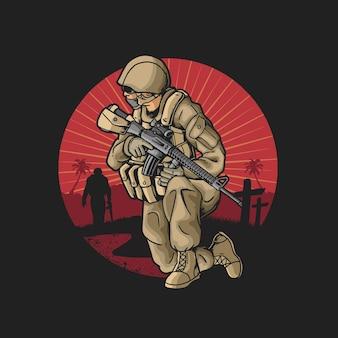 Ilustração de soldado da justiça luta pela honra