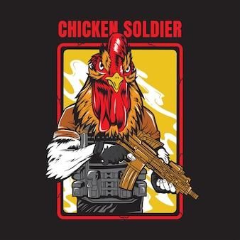 Ilustração de soldado militar de frango
