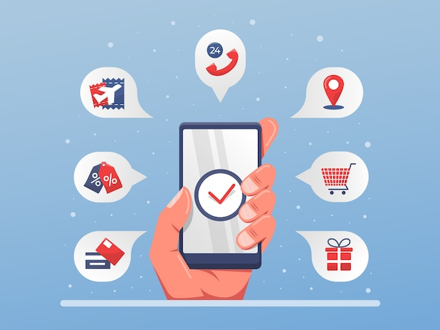 Ilustração de solução de serviço de aplicativo móvel com uma mão