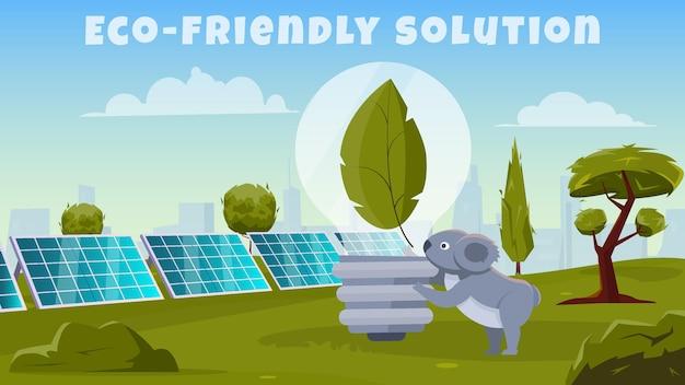 Ilustração de solução ecológica com um animal bonito de desenho animado examinando uma lâmpada elétrica