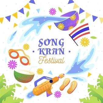 Ilustração de songkran desenhada à mão