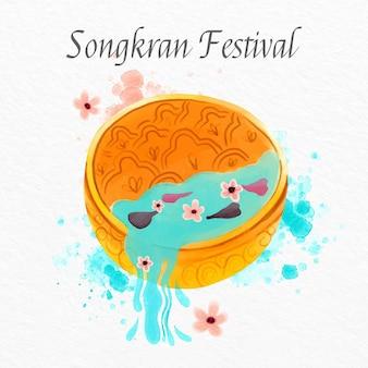 Ilustração de songkran em aquarela