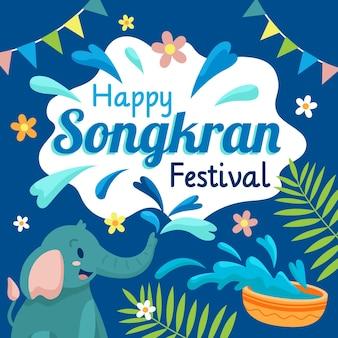 Ilustração de songkran plana