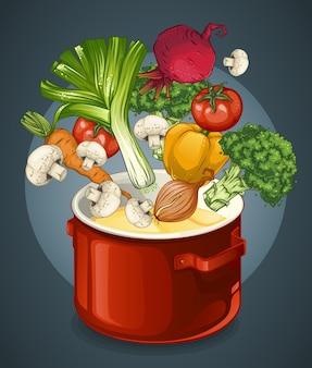 Ilustração de sopa de vegetais