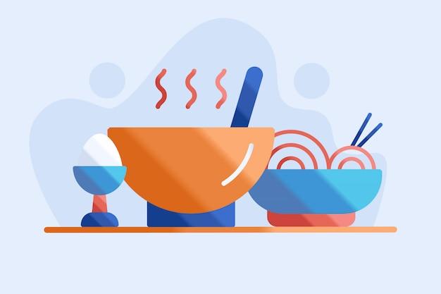 Ilustração de sopa e macarrão