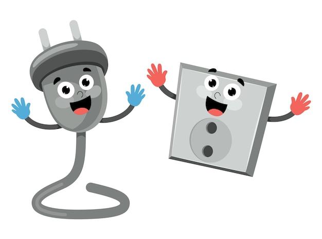 Ilustração de soquete e cabo