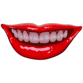 Ilustração de sorriso feminino lábios realista