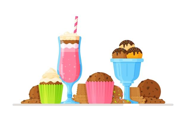 Ilustração de sorvete de milkshake de morango, biscoitos e cupcakes em estilo cartoon