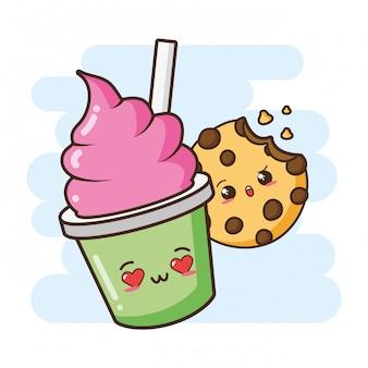 Ilustração de sorvete e biscoito fofo kawaii fast-food