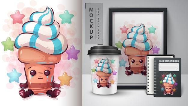 Ilustração de sorvete fofo e merchandising
