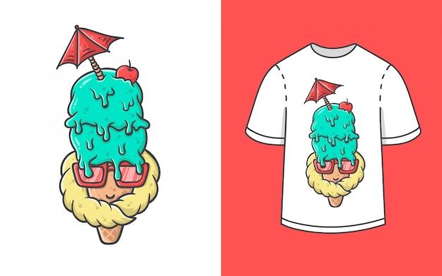 Ilustração de sorvete para design de camiseta