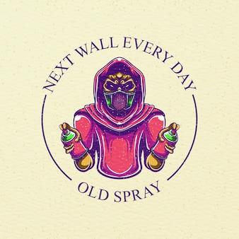 Ilustração de spray antigo para design de camiseta