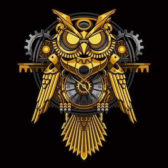 Ilustração de steampunk de coruja de ouro
