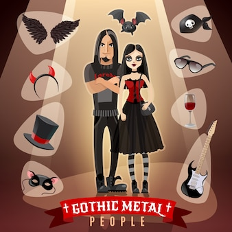 Ilustração de subcultura de pessoas de metal gótico
