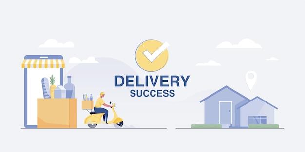 Ilustração de sucesso de entrega serviço de entrega de scooter nas casas dos clientes. ilustração vetorial