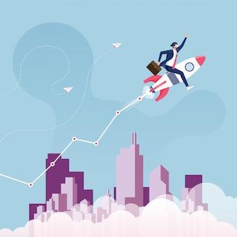 Ilustração de sucesso de inicialização e crescimento