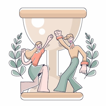 Ilustração de sucesso de objetivo de menino e menina