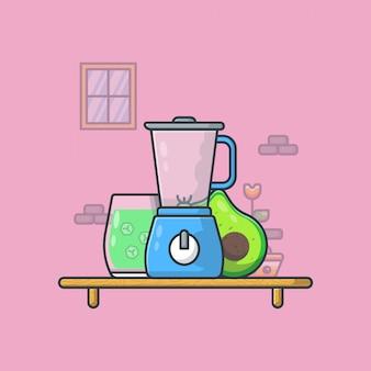 Ilustração de suco de abacate. estilo cartoon plana