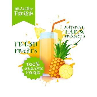 Ilustração de suco de abacaxi fresco etiqueta de produtos de fazenda natural de comida sobre respingo de tinta