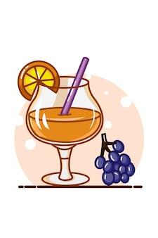Ilustração de suco de laranja com mirtilo