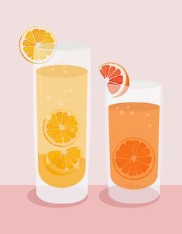 Ilustração de suco de laranja. ilustração de limonada.