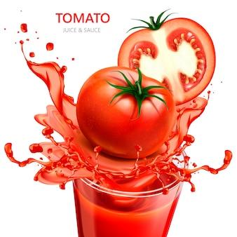 Ilustração de suco e molho de tomate