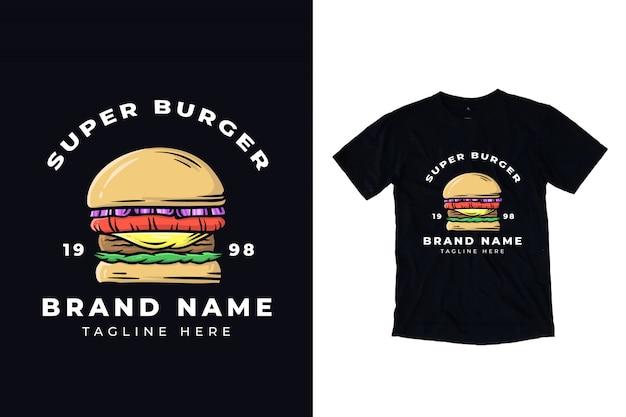 Ilustração de super hambúrguer para design de camiseta