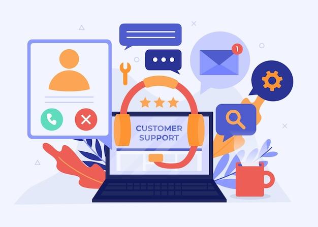 Ilustração de suporte ao cliente plano orgânico