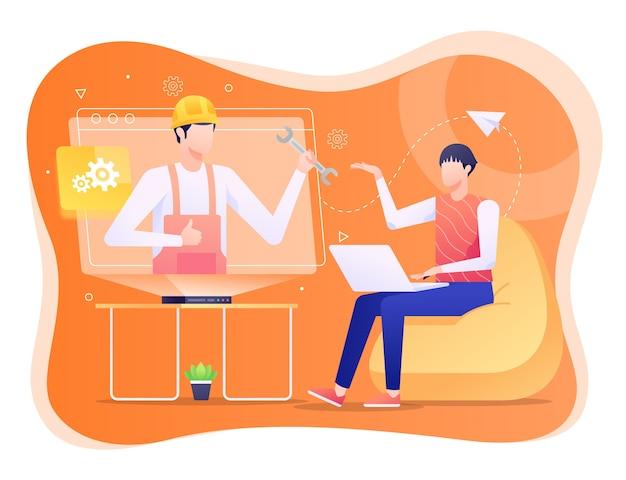 Ilustração de suporte técnico, ajudando o usuário com problemas.