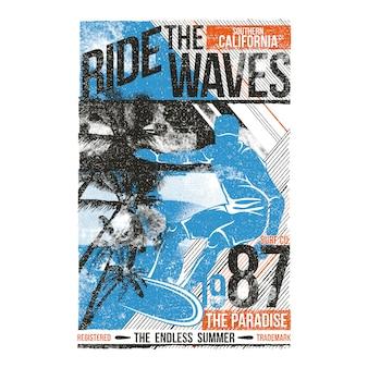 Ilustração de surf passeio as ondas