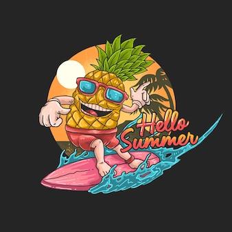 Ilustração de surfe tropical de abacaxi