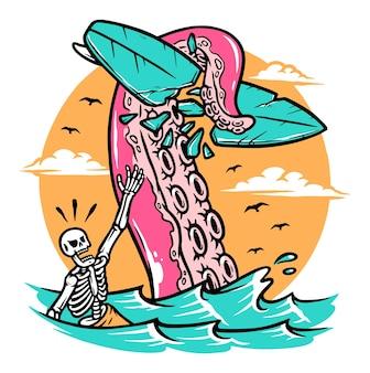 Ilustração de surfista de ataque de polvo