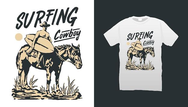 Ilustração de surfista de cowboy