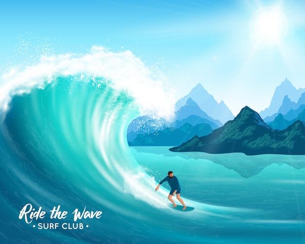 Ilustração de surfista e grande onda