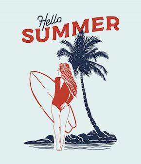 Ilustração de surfista menina