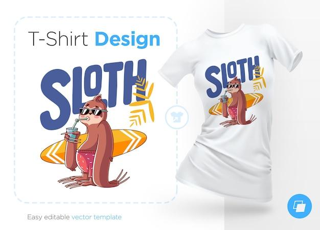Ilustração de surfista-preguiça e design de camiseta