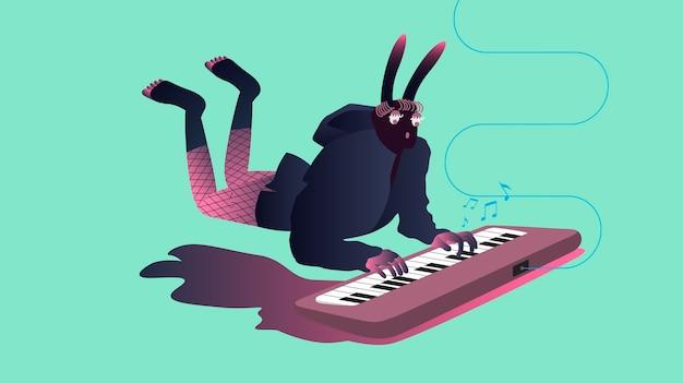Ilustração, de, surreal, músicos