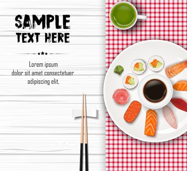 Ilustração de sushi tradicional japonesa realista