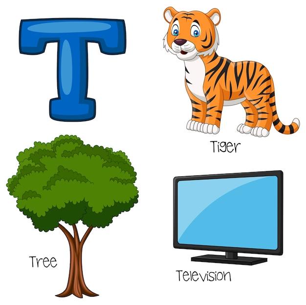 Ilustração, de, t, alfabeto