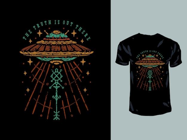 Ilustração de t-shirt vintage desenhada à mão com letreiro ufo