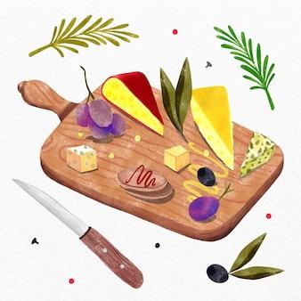Ilustração de tábua de queijo em aquarela