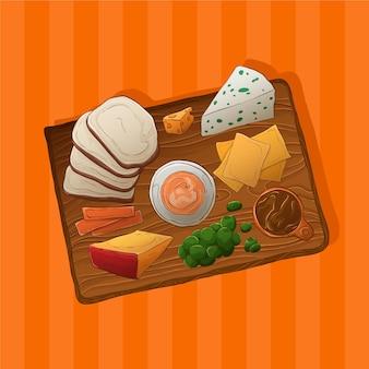 Ilustração de tábua de queijos desenhada à mão com acompanhamentos