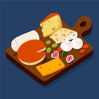 Ilustração de tábua de queijos desenhada à mão