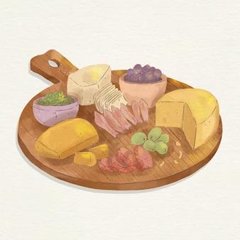 Ilustração de tábua de queijos em aquarela com acompanhamentos